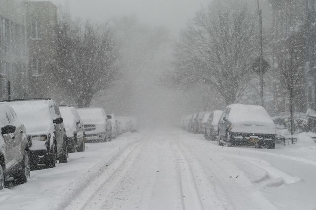 Blizzard Conditions on Street