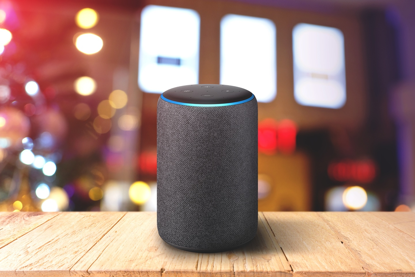 A smart hub on the table at a holiday party